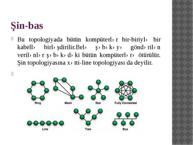 Şin-bas Bu topologiyada bütün kompüterlər bir-biriylə bir kabellə birləşdiril...