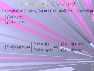 Уравнения вида |f (x)| = |g (x)|