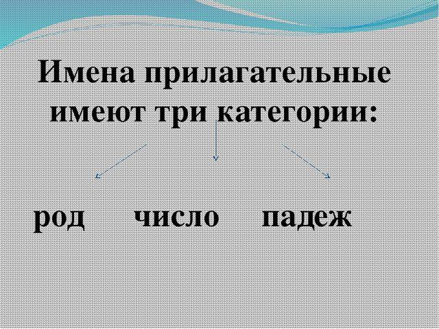 Имена прилагательные имеют три категории: род число падеж