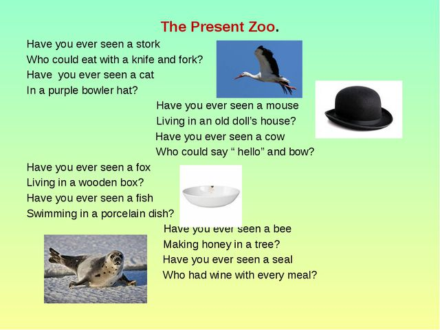 The Present Zoo. Have you ever seen a stork Who could eat with a knife and fo...