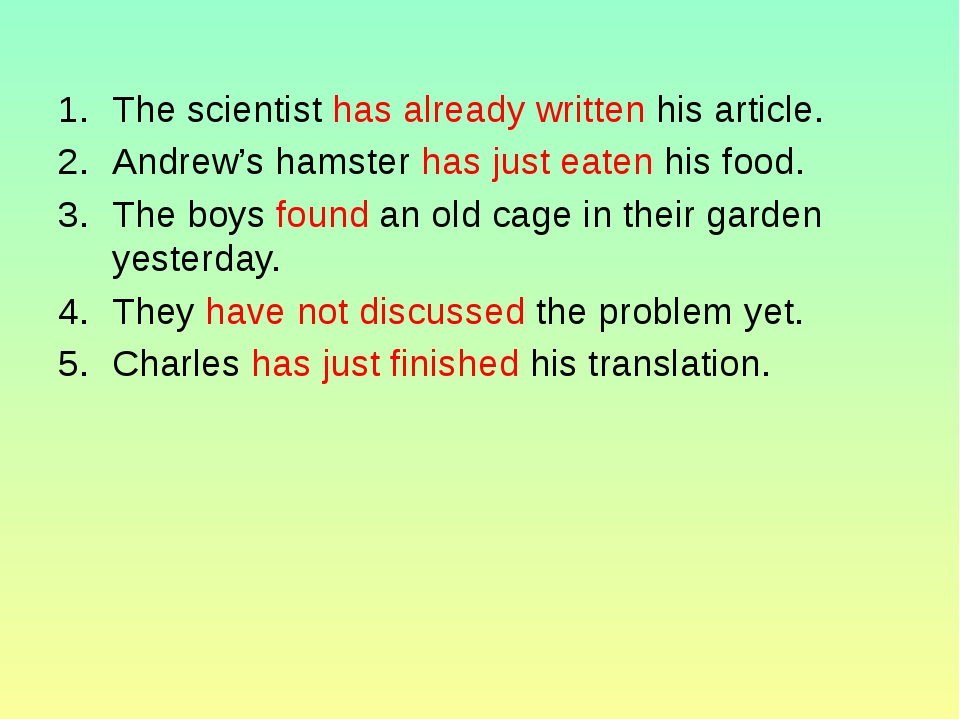 The scientist has already written his article. Andrew's hamster has just eate...