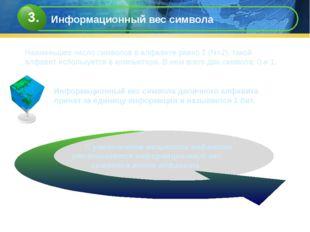 Информационный вес символа двоичного алфавита принят за единицу информации и