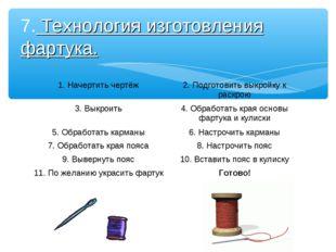 7. Технология изготовления фартука. 1. Начертить чертёж2. Подготовить выкрой