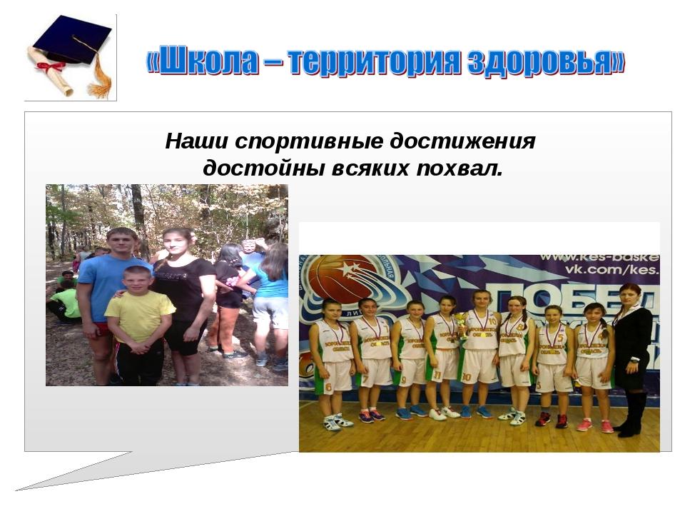 Наши спортивные достижения достойны всяких похвал.