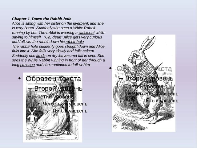 Chapter 1. Down the Rabbit-hole. Alice is sitting with her sister on the rive...