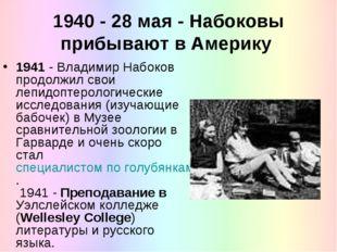 1940 - 28 мая - Набоковы прибывают в Америку 1941 - Владимир Набоков продолжи
