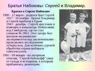 Братья Набоковы: Сергей и Владимир. Кратко о Сергее Набокове: 1900 - 12 марта