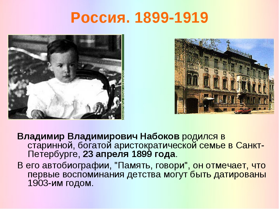 Россия. 1899-1919 Владимир Владимирович Набоков родился в старинной, богатой...