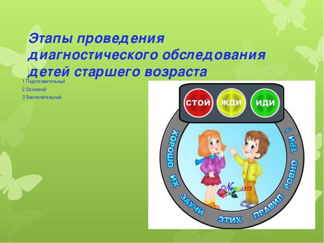 Этапы проведения диагностического обследования детей старшего возраста 1 Подг...
