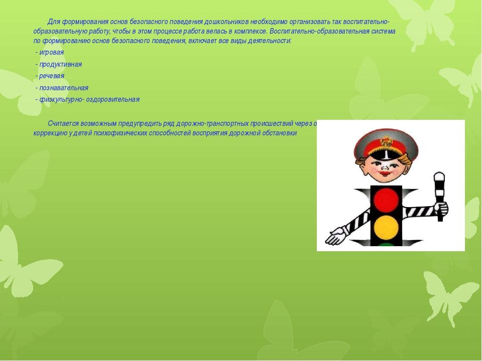 Для формирования основ безопасного поведения дошкольников необходимо организ...