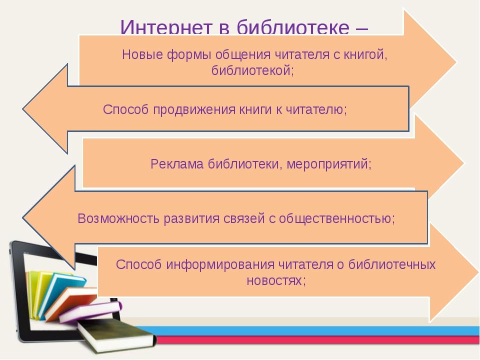 Интернет в библиотеке – Новые формы общения читателя с книгой, библиотекой; Р...