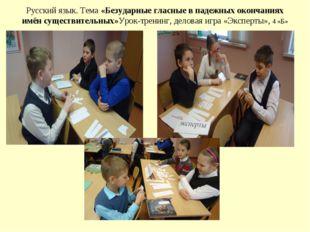 Русский язык. Тема «Безударные гласные в падежных окончаниях имён существител
