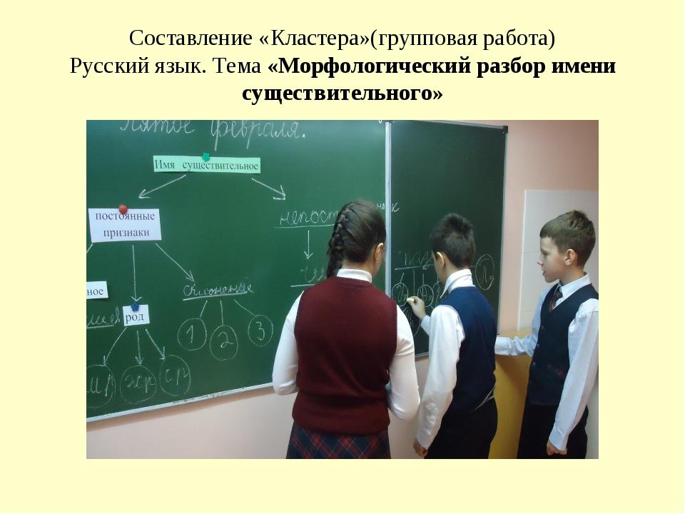 Составление «Кластера»(групповая работа) Русский язык. Тема «Морфологический...
