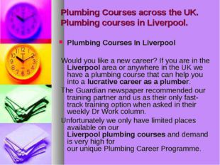Plumbing Courses across the UK. Plumbing courses in Liverpool. Plumbing Cours