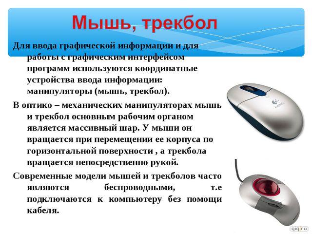 Для ввода графической информации и для работы с графическим интерфейсом прогр...