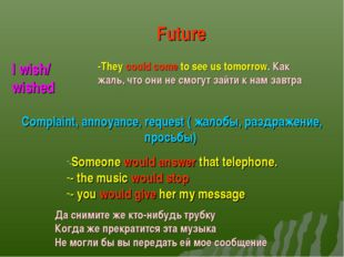 I wish/ wished Future -They could come to see us tomorrow. Как жаль, что они