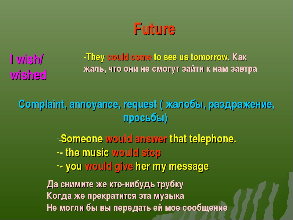 I wish/ wished Future -They could come to see us tomorrow. Как жаль, что они...