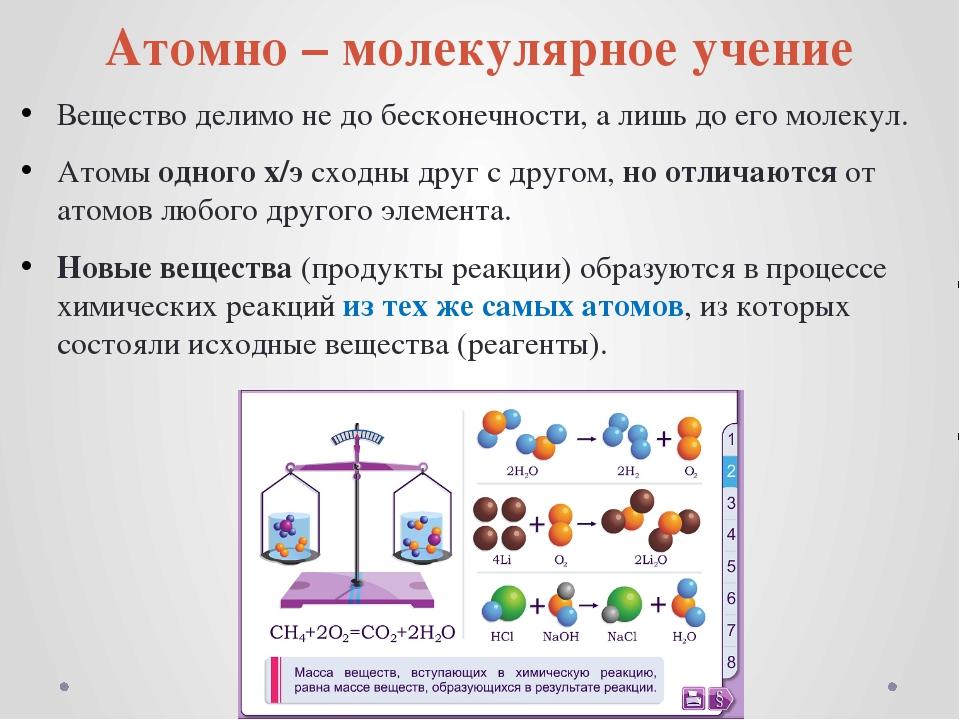 Атомно – молекулярное учение Вещество делимо не до бесконечности, а лишь до е...