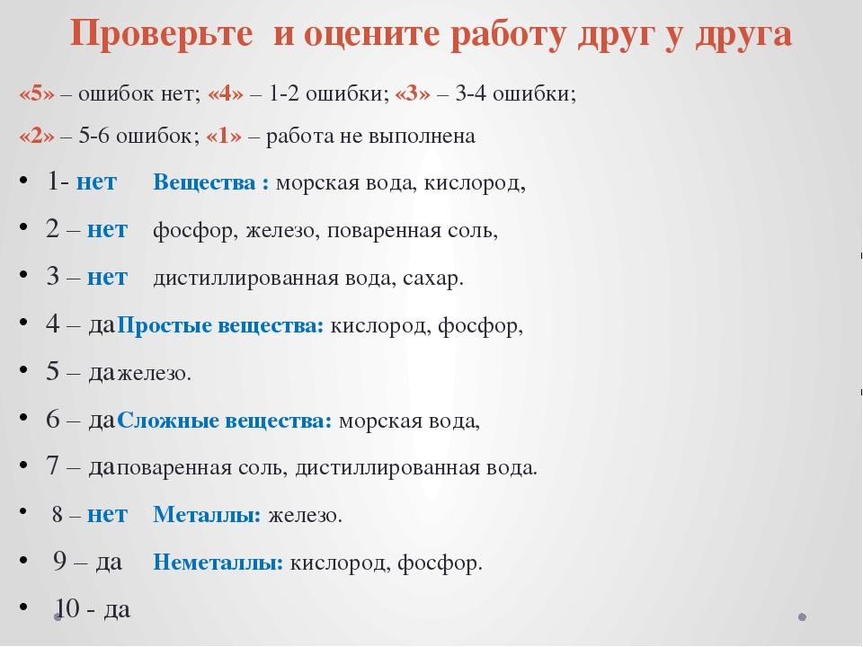 Проверьте и оцените работу друг у друга «5» – ошибок нет; «4» – 1-2 ошибки;...