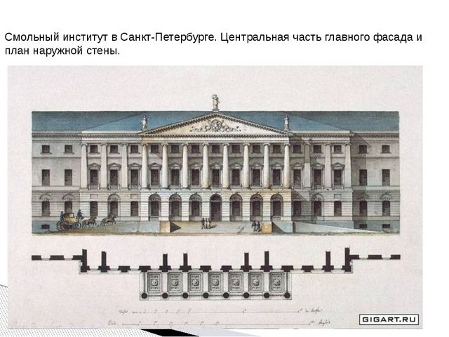 Смольный институт в Санкт-Петербурге. Центральная часть главного фасада и пл...