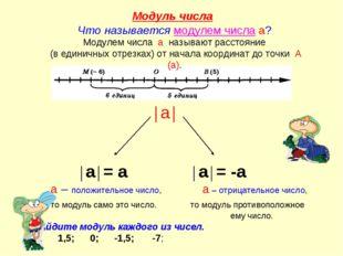 Модуль числа Что называется модулем числа а? Модулем числа а называют рассто