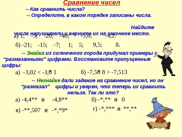 Сравнение чисел -- Как сравнить числа? -- Определите, в каком порядке запис...