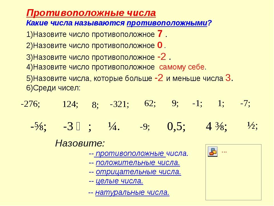 Противоположные числа Какие числа называются противоположными? Назовите число...