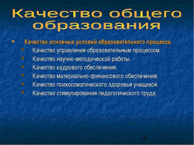 Качество основных условий образовательного процесса Качество управления образ...