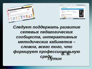 Следует поддержать развитие сетевых педагогических сообществ, интерактивных м
