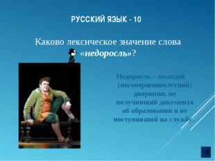 РУССКИЙ ЯЗЫК - 10 Недоросль – молодой (несовершеннолетний) дворянин, не получ
