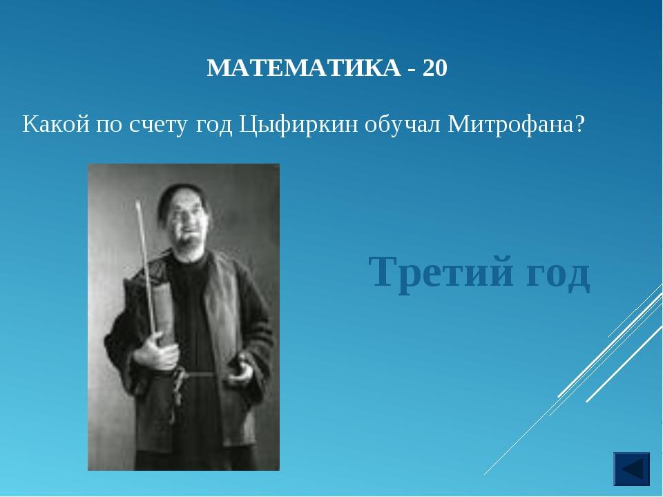 МАТЕМАТИКА - 20 Какой по счету год Цыфиркин обучал Митрофана? Третий год
