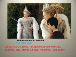 Use these words to describe The Witch Jadis White, cruel, cunning, tall, gold