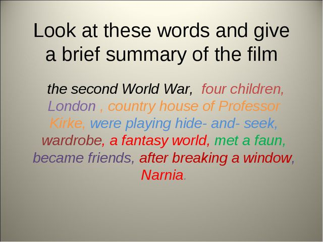 Look at these words and give a brief summary of the film the second World War...