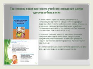 Три степени приверженности учебного заведения идеям здоровьесбережения 1. Исп