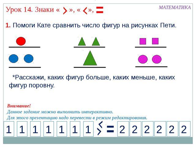 1. Помоги Кате сравнить число фигур на рисунках Пети. МАТЕМАТИКА 1 2 1 1 1 1...