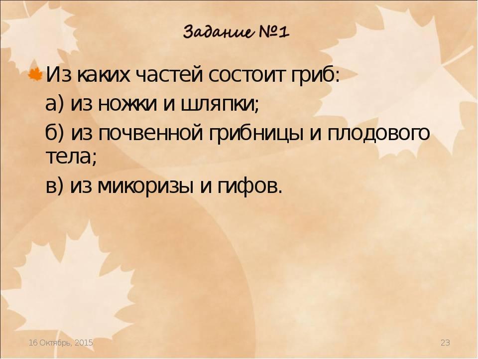 * * Из каких частей состоит гриб: а) из ножки и шляпки; б) из почвенной грибн...