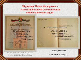 Журавлев Павел Федорович – участник Великой Отечественной войны и ветеран тру