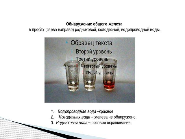 Обнаружение общего железа в пробах (слева направо) родниковой, колодезной, в...