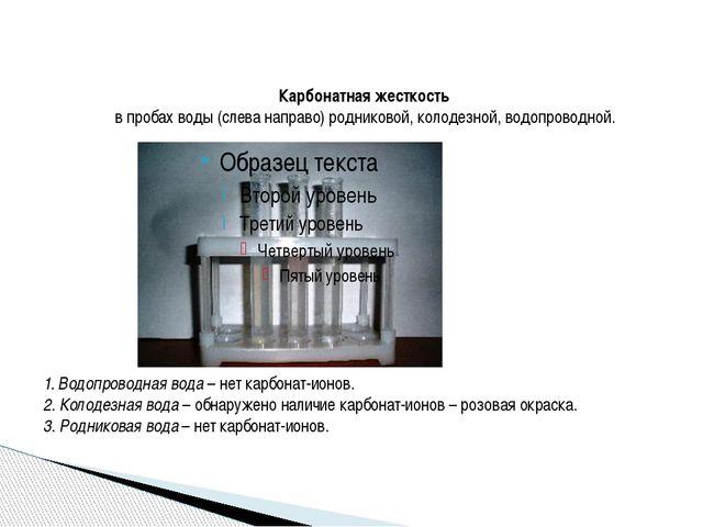 Карбонатная жесткость в пробах воды (слева направо) родниковой, колодезной,...