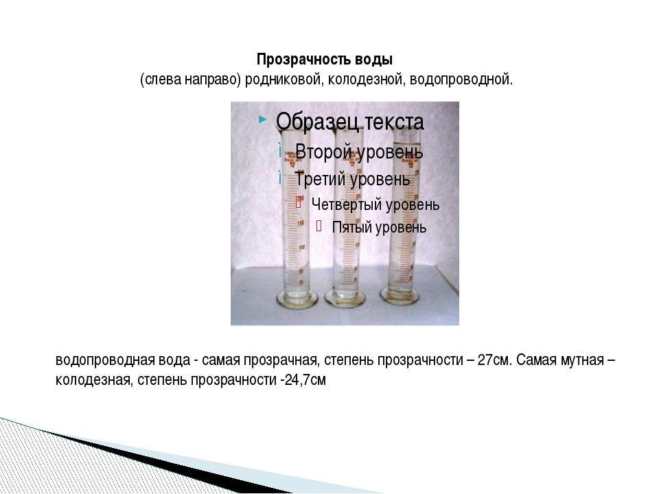 Прозрачность воды (слева направо) родниковой, колодезной,водопроводной. вод...