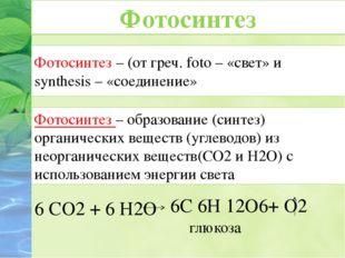 Фотосинтез – (от греч. foto – «cвет» и synthesis – «соединение» 6 СО2 + 6 Н2О
