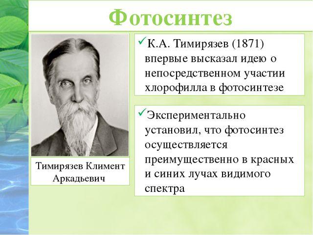 Фотосинтез К.А. Тимирязев (1871) впервые высказал идею о непосредственном уча...