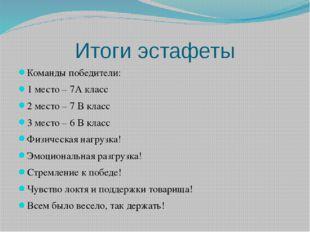 Итоги эстафеты Команды победители: 1 место – 7А класс 2 место – 7 В класс 3 м