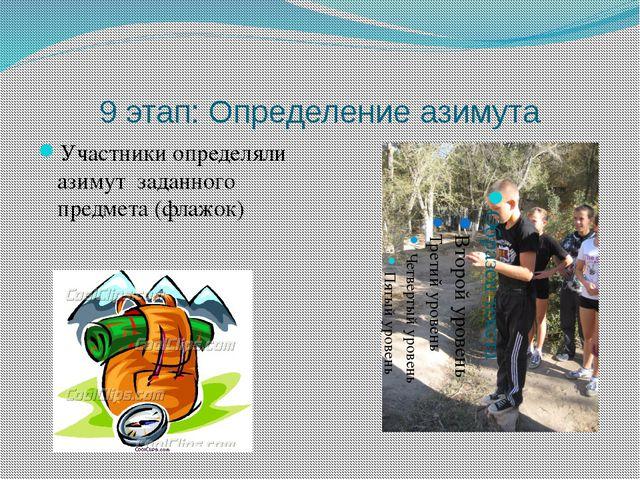 9 этап: Определение азимута Участники определяли азимут заданного предмета (ф...
