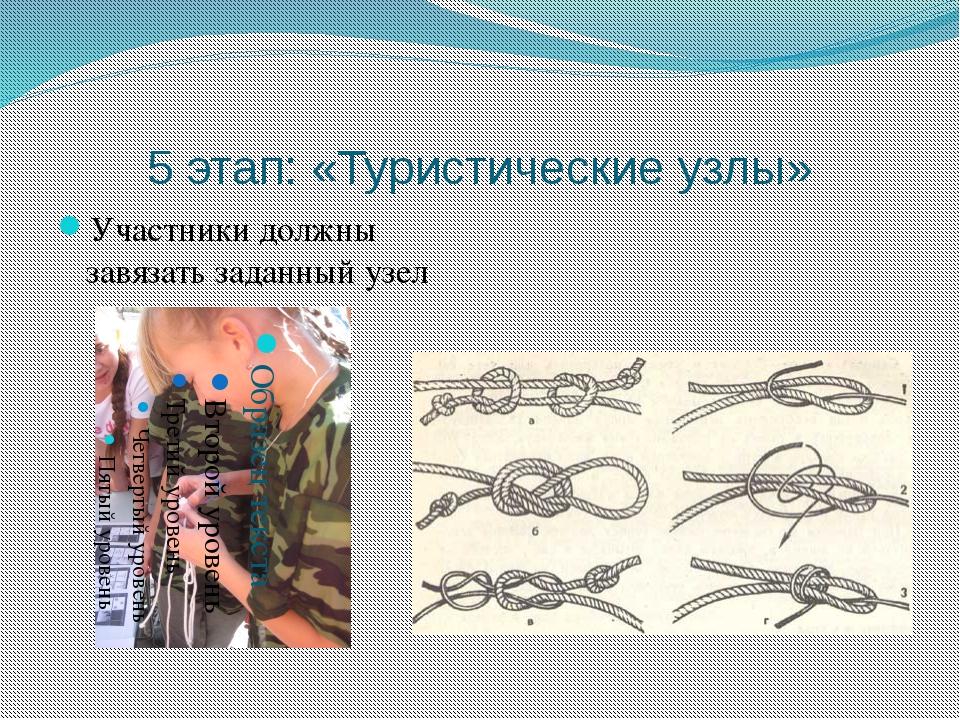 5 этап: «Туристические узлы» Участники должны завязать заданный узел