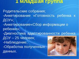1 младшая группа Родительские собрания; -Анкетирование «Готовность ребенка к