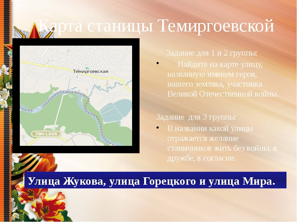Карта станицы Темиргоевской Задание для 1 и 2 группы: Найдите на карте улицу,...