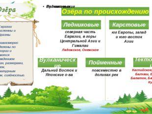 Озёра Озёра Евразии многочисленны и разнообразны. Они неравномерно распределе