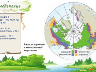 Оледенение Оледенение в Евразии – 403 тыс. кв. км. (о,75 %): Горное – 90 % (Г