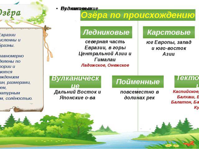 Озёра Озёра Евразии многочисленны и разнообразны. Они неравномерно распределе...